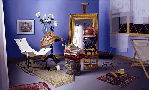 Giclée print with large mirror, purple wall, large mirror, copper reflective ball, rugs, white flowers