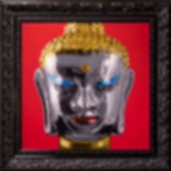 oil painting of a glass buddha with red background.