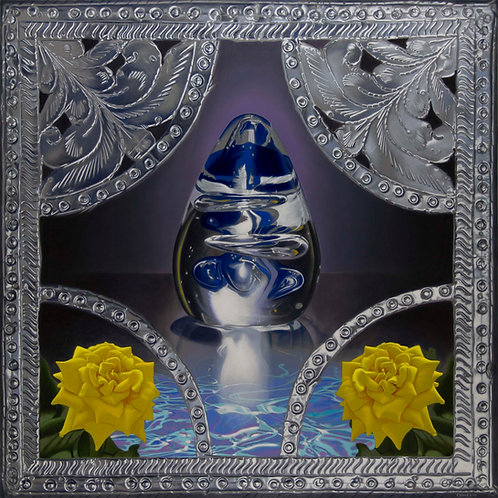 oil painting of 2 yellow roses and  blue glass egg