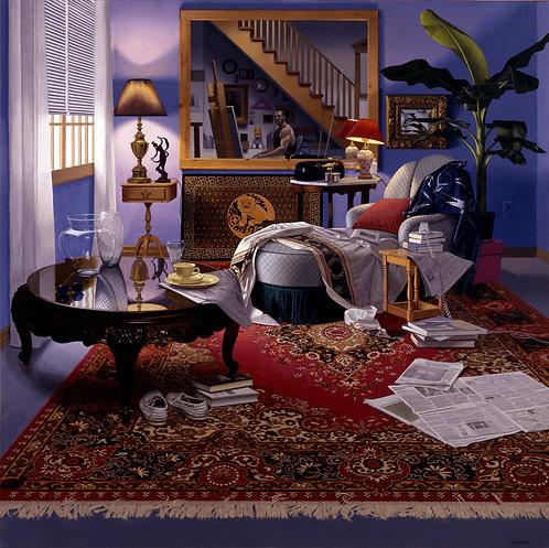 Giclée print of studio interior with oriental carpet, chaise, lamp, window, newspaper.