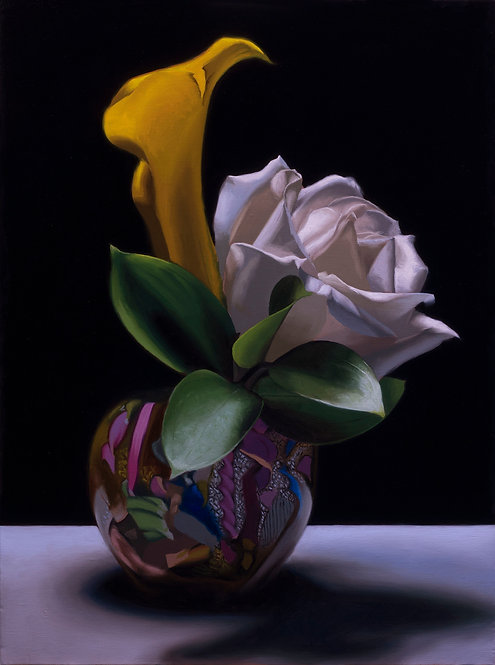oil painting of white rose and yellow cala lily