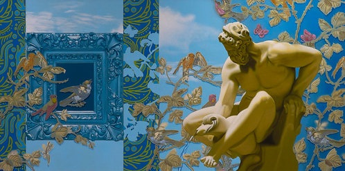 painting of sculpture with blue background