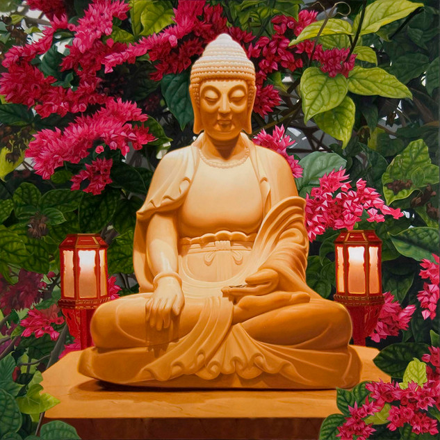 Buddha w Lanterns & Flowers