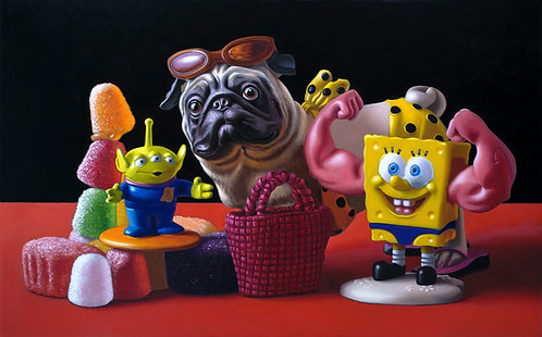 oil painting of candy, Pug dog, Spongebob Square pants