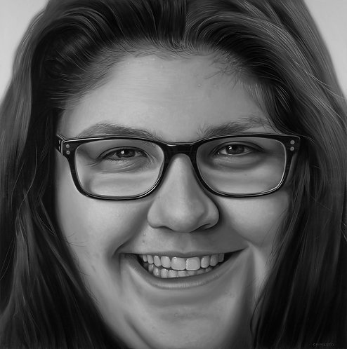 Black and white oil portrait of woman in glasses