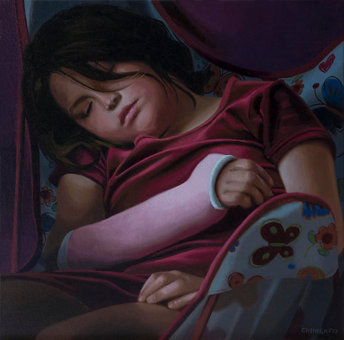 oil painting of girl in pink cast