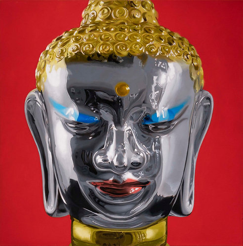 oil painting of glass buddha with red background