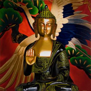 Bronze Buddha with Crane
