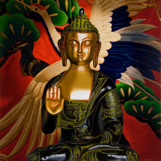 Bronze Buddha with Crane