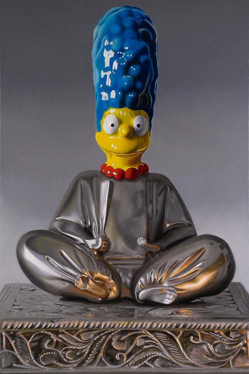 Still life painting of a Buddha with the head of Marge Simpson