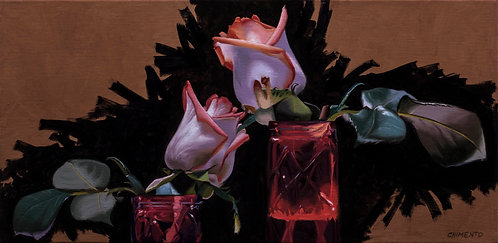 oil painting of two roses in glass vases