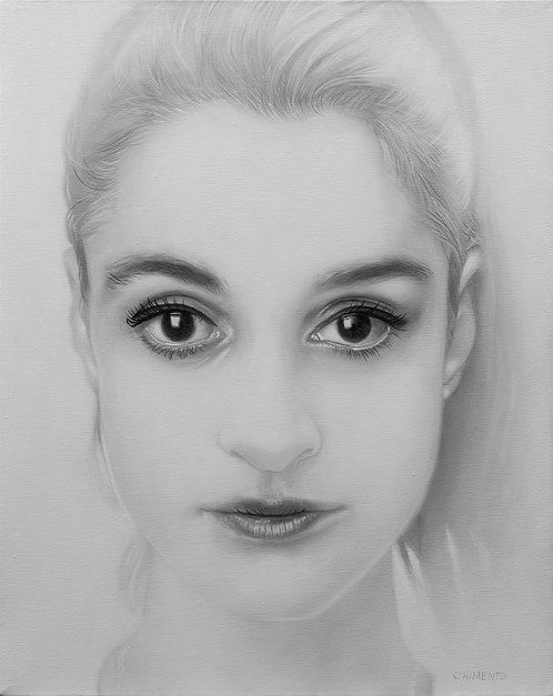 oil portrait of beautiful girl in black and white