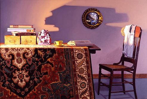 Giclée print of table & chair, oriental carpet, books, convex mirror