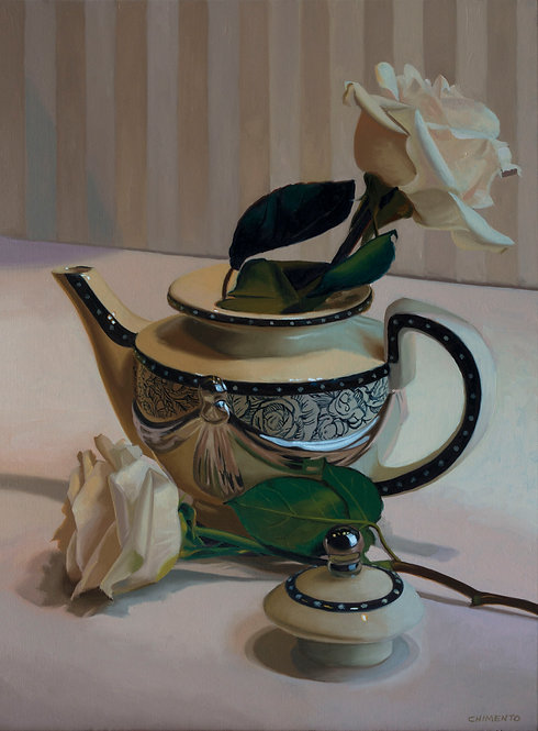 Still life painting of 2 white roses and a Tea pot