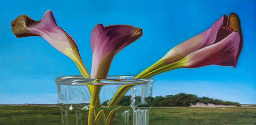 oil painting of cala lilies with Provincetown background