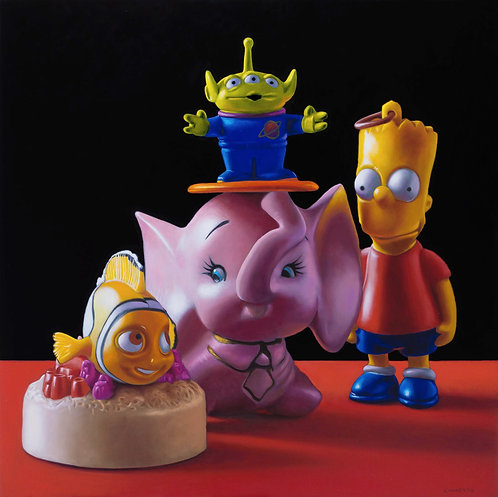 Still life painting of toys with Bart Simpson, Nemo, elephant