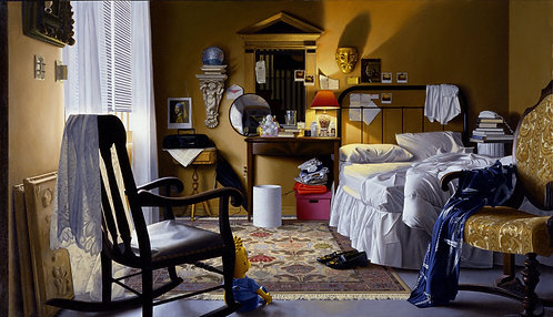 Giclée print of bedroom with rocking chair, window, bed, lamp,  convex mirror