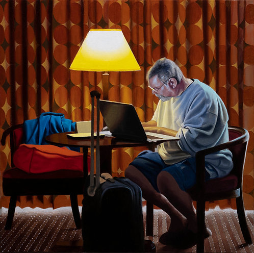 oil painting of man working at laptop in hotel