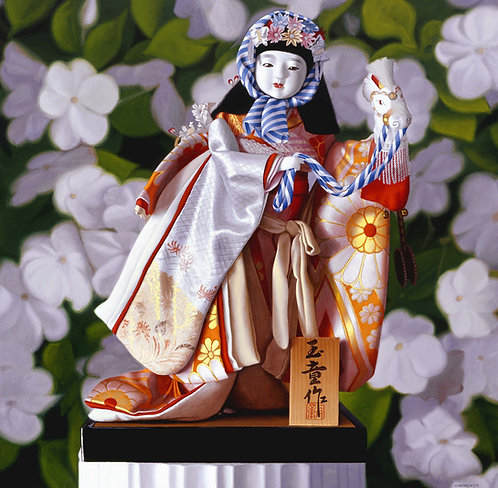 Giclée print of Geisha doll with flower background