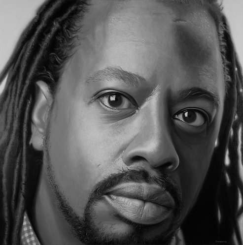 black and white oil portrait of African American man