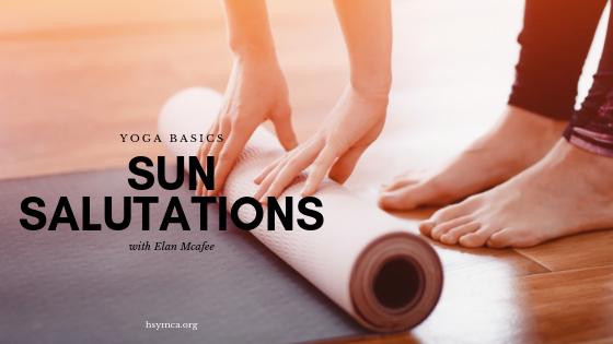 yoga mat with sun salutations