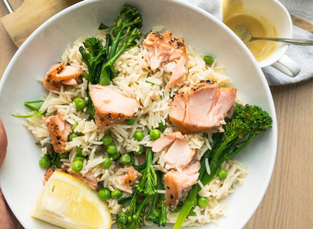 Broccoli, Pea & Salmon Rice
