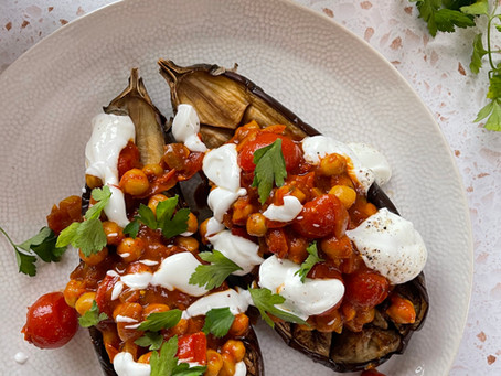 Curried Chickpea Stuffed Aubergine