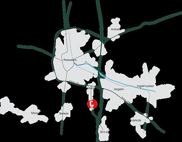 Kaartje ligging bedrijf tuinen decock