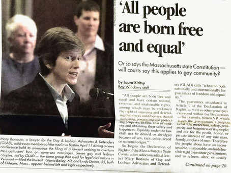 April 11, 2001: Mary Bonauto files Massachusetts marriage suit