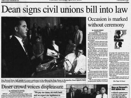 April 26, 2000: Vermont enacts civil-union law