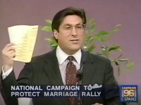 February 10, 1996: Six presidential candidates sign anti-gay-marriage pledge