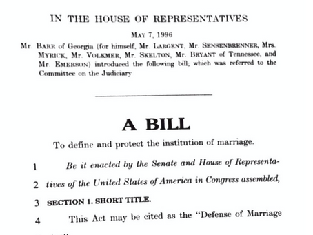 May 7, 1996: Defense of Marriage Act introduced in House