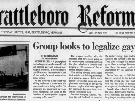 July 22, 1997: Three couples sue Vermont for marriage rights