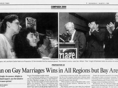 March 7, 2000: California voters pass gay-marriage ban