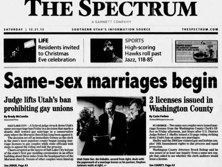 December 20, 2013: Utah's marriage law struck down by federal judge