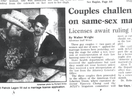 December 17, 1990: Hawaii same-sex couples demand marriage licenses