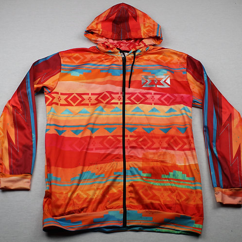 Orange Native Design Polyester Hoodie