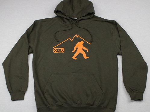 Orange Bigfoot Hoodie (Dark Green)