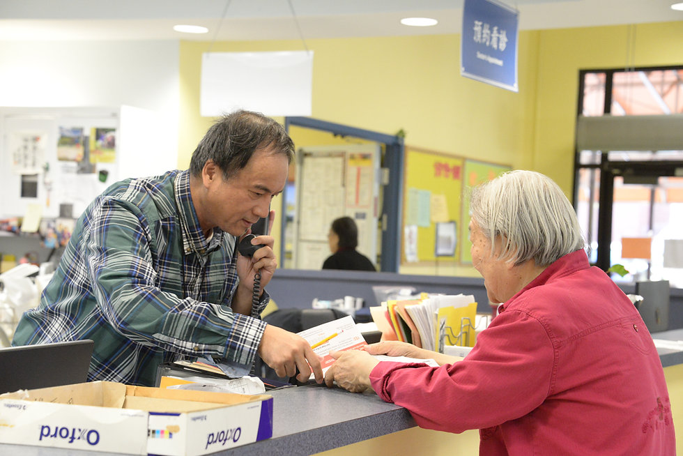 Our social worker is helping a senior.