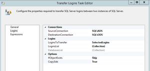 Transfer Logins Task Editor