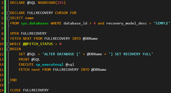 How to Change Recovery Model to Simple or Full for All Users databases?