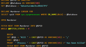 Kill all connections on DB by Cursor