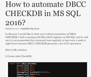 How to automate DBCC CHECKDB