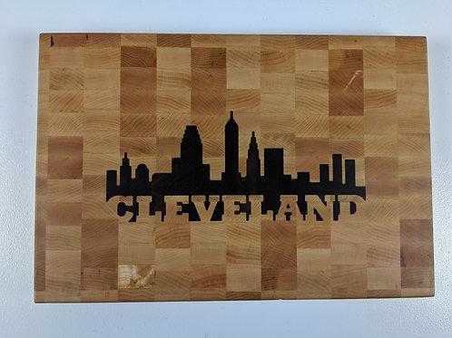 Wood Inlay of Cleveland Skyline