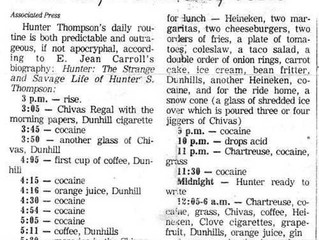 Hunter S. Thompson's Ludicrous Daily Schedule