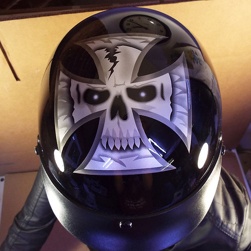 "EXL Industries EXL-100 ""Maltese Cross Skull"" Motorcycle Helmet"