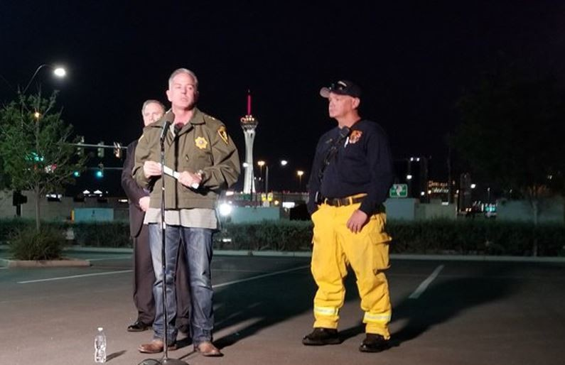 Sheriff Joseph Lombardo updates the media on the deadly mass shooting at a country music concert in Las Vegas. Police have identified the suspect as Stephen Paddock, 64, of Nevada. (Contributed photo/Las Vegas Sheriff's Department).