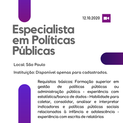 Especialista em Políticas Públicas