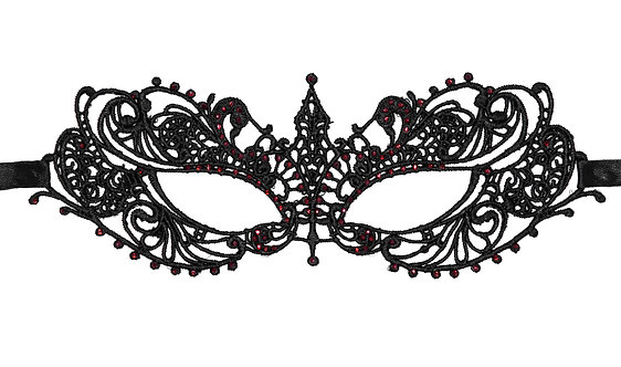 Black Lace Mask with Red Glass Crystals.