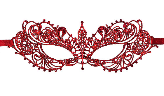 Red Lace Mask with Red Glass Crystals